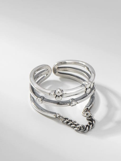 Chain ring 925 Sterling Silver Irregular Vintage Stackable Ring