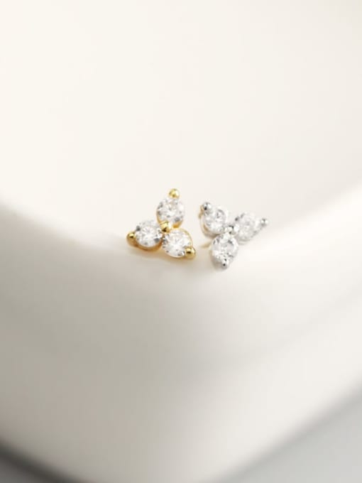ACE 925 Sterling Silver Rhinestone White Clover Trend Stud Earring 1