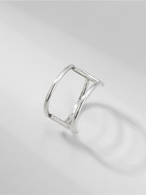 ARTTI 925 Sterling Silver Geometric Vintage Double Layer Line   Band Ring 2