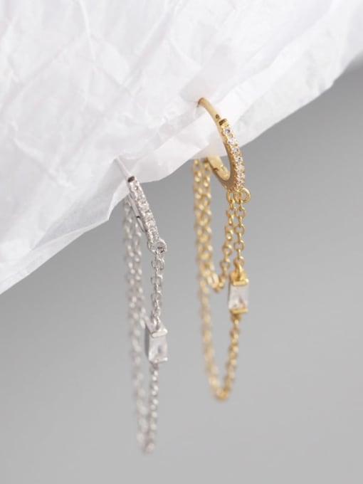 ACE 925 Sterling Silver Tassel Chain Minimalist Huggie Earring 2