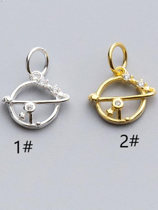 FAN 925 Sterling Silver Round Charm Height : 12.2 mm , Width: 11.5 mm