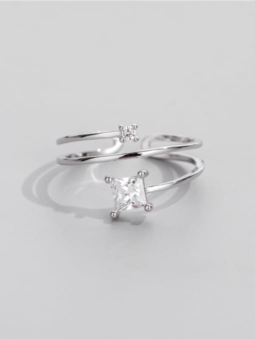 Square diamond ring 925 Sterling Silver Cubic Zirconia Geometric Minimalist Stackable Ring