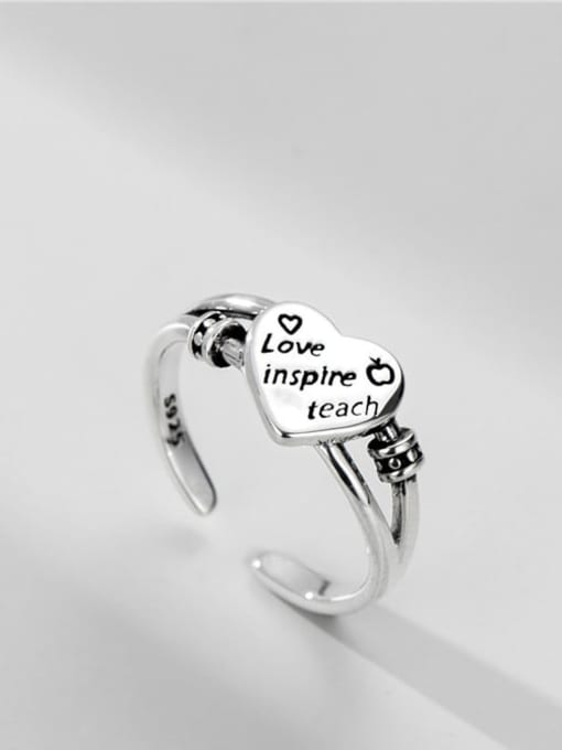 Love ring 925 Sterling Silver Heart Vintage Band Ring