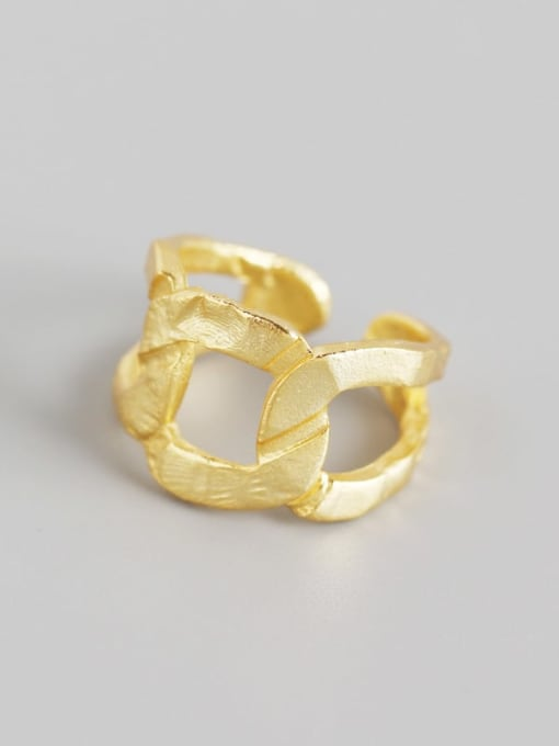 Gold 925 Sterling Silver Hollow Geometric Artisan Band Ring
