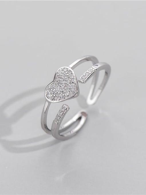 ARTTI 925 Sterling Silver Rhinestone Geometric Minimalist Stackable Ring 0