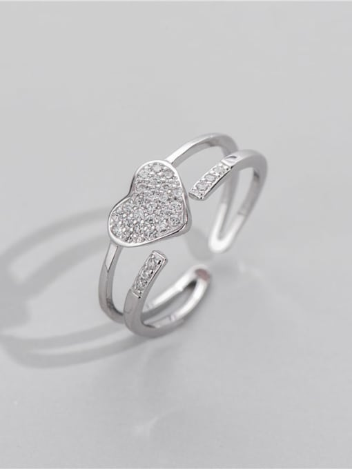 ARTTI 925 Sterling Silver Rhinestone Geometric Minimalist Stackable Ring