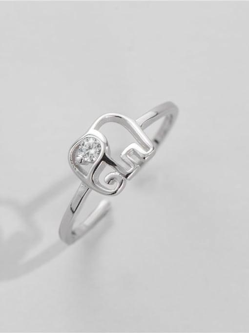 Platinum 925 Sterling Silver Elephant Minimalist Band Ring