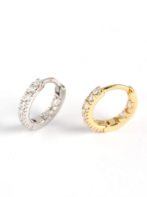 ACE 925 Sterling Silver Rhinestone White Geometric Minimalist Huggie Earring 2