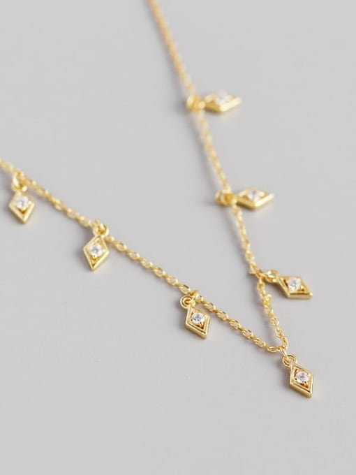Gold 925 Sterling Silver Cubic Zirconia Geometric Minimalist Necklace
