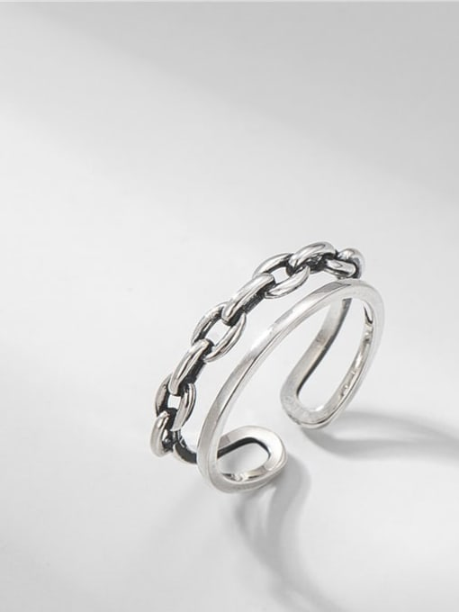 Strap double ring 925 Sterling Silver Geometric Vintage Stackable Ring