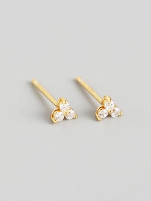 2#Gold 925 Sterling Silver Rhinestone White Clover Trend Stud Earring