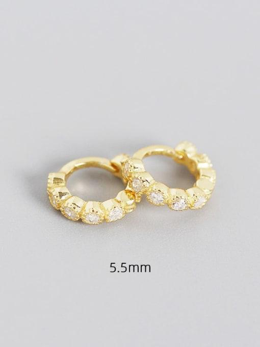 5.5mm gold white stone 925 Sterling Silver Cubic Zirconia Geometric Minimalist Huggie Earring