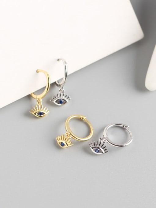 ACE 925 Sterling Silver Cubic Zirconia Eye Trend Huggie Earring 1