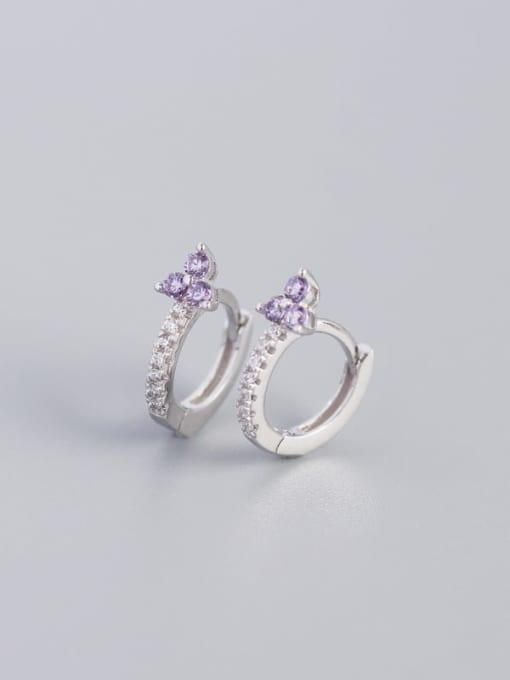 White Gold Purple Stone 925 Sterling Silver Cubic Zirconia Flower Dainty Huggie Earring