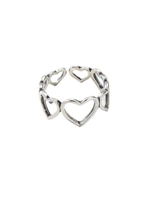 ARTTI 925 Sterling Silver Hollow Heart Vintage Band Ring 3