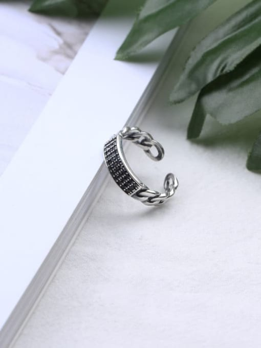 ACE 925 Sterling Silver Cubic Zirconia Black Geometric Vintage Band Ring 0