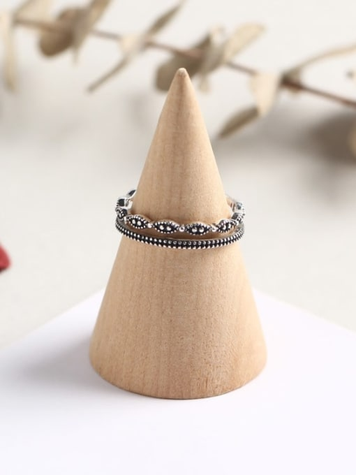 ACE 925 Sterling Silver Geometric Vintage Stackable Ring 2