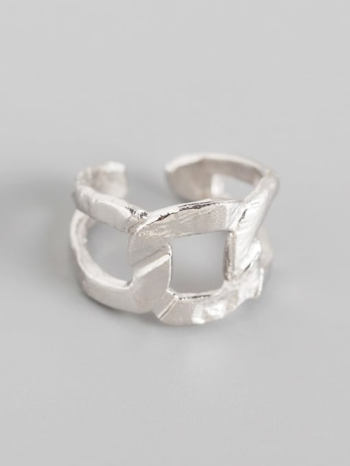 Platinum 925 Sterling Silver Hollow Geometric Artisan Band Ring