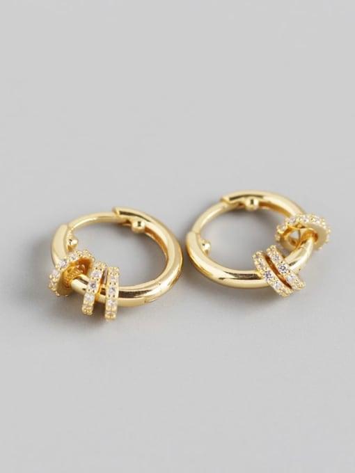 2#Gold 925 Sterling Silver Rhinestone White Geometric Luxury Huggie Earring