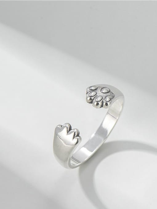 ARTTI 925 Sterling Silver Irregular Vintage Cat Claw  Band Ring 0