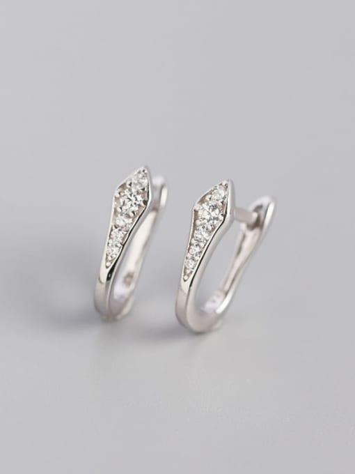 Platinum White Stone 925 Sterling Silver Cubic Zirconia Geometric Artisan Huggie Earring