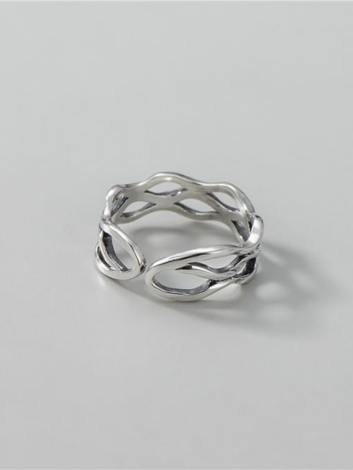ARTTI 925 Sterling Silver Hollow Geometric Vintage Stackable Ring 2