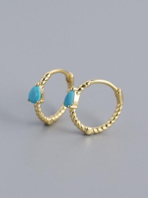 Golden (blue pine) 925 Sterling Silver Cubic Zirconia Geometric Trend Huggie Earring