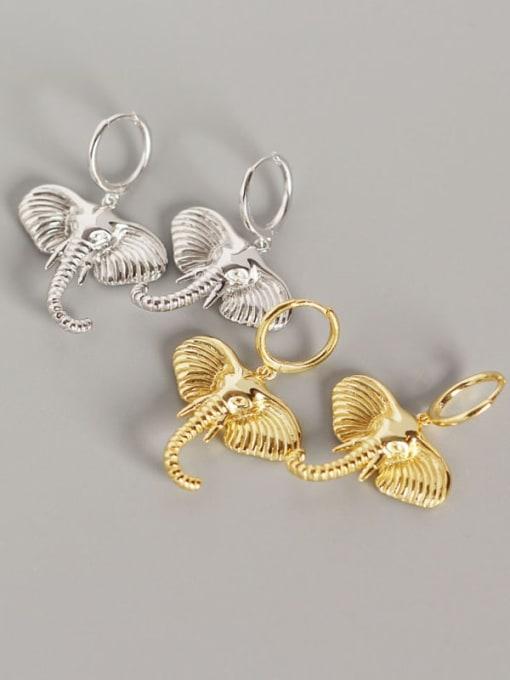 ACE 925 Sterling Silver Elephant Artisan Huggie Earring