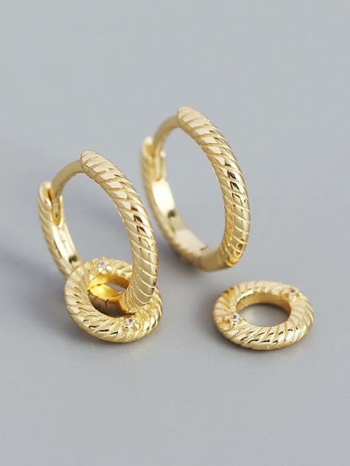 Golden 925 Sterling Silver Geometric Minimalist Huggie Earring