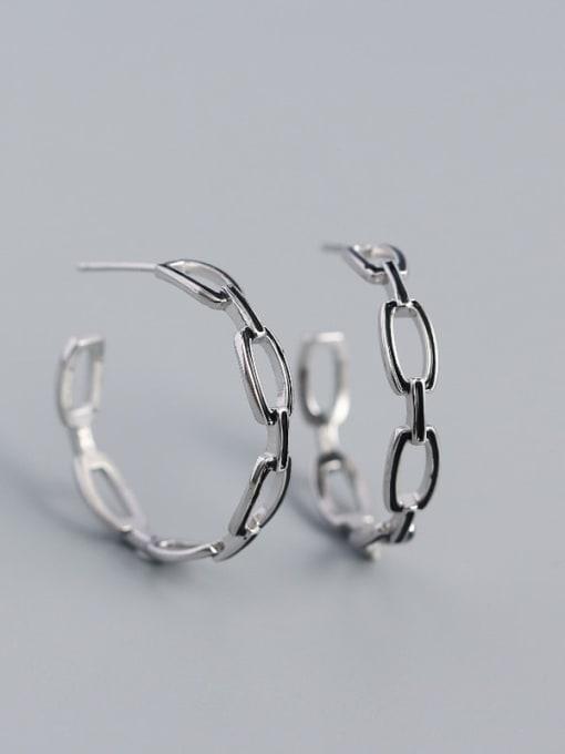 Platinum 925 Sterling Silver Cubic Zirconia Geometric Minimalist Hoop Earring