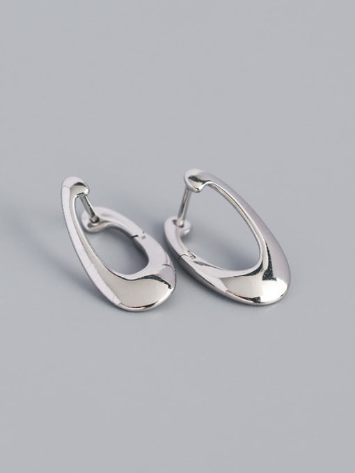 Platinum 925 Sterling Silver Irregular Minimalist Huggie Earring