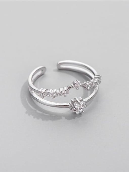 Star Ring 925 Sterling Silver Cubic Zirconia Irregular Minimalist Stackable Ring