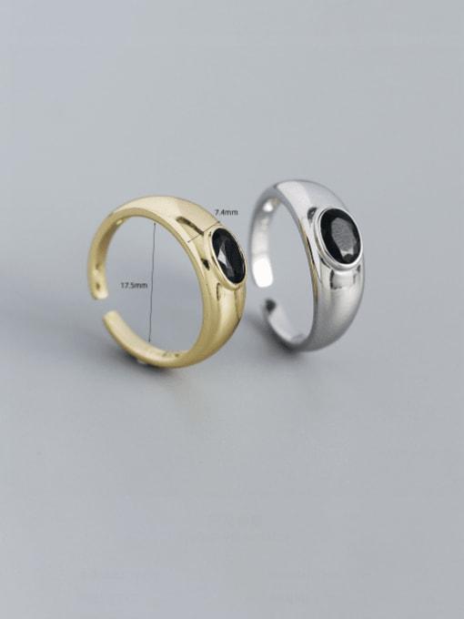 ACEE 925 Sterling Silver Enamel Geometric Minimalist Band Ring 0