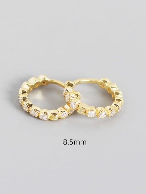 8.5mm white gold 925 Sterling Silver Cubic Zirconia Geometric Minimalist Huggie Earring