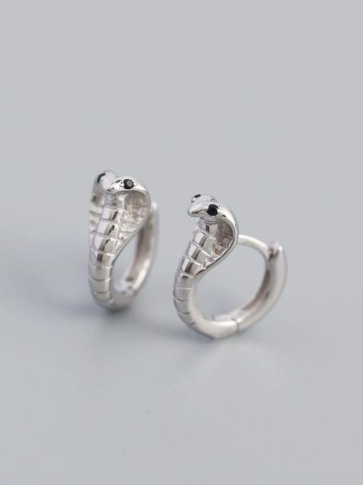 Platinum 925 Sterling Silver Cubic Zirconia Snake Hip Hop Stud Earring