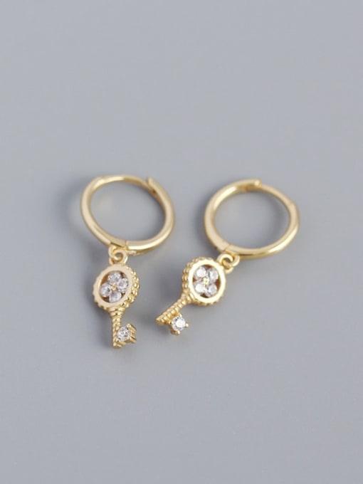 Golden 925 Sterling Silver Cubic Zirconia Key Minimalist Huggie Earring