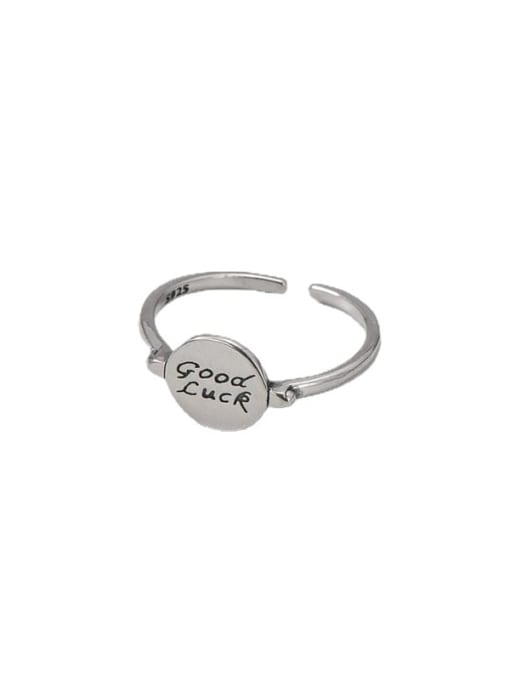 ARTTI 925 Sterling Silver Letter Vintage Lucky Round  Band Ring 4