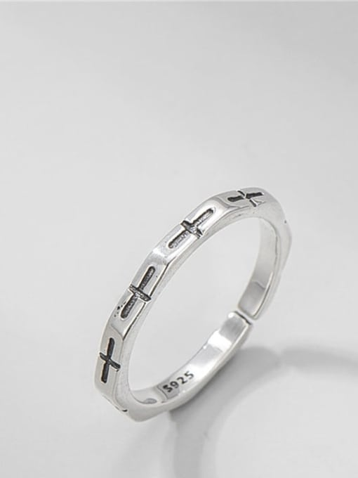 Cross Ring 925 Sterling Silver Geometric Vintage Band Ring
