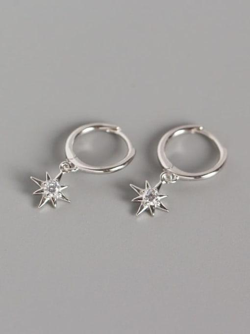 1#Platinum 925 Sterling Silver Rhinestone White Star Minimalist Huggie Earring