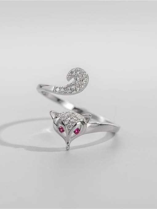 ARTTI 925 Sterling Silver Cubic Zirconia Fox Cute Band Ring 0