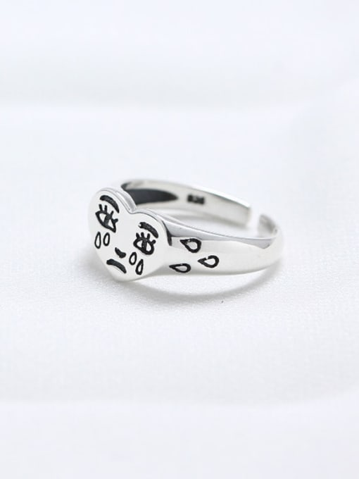 ACE 925 Sterling Silver Heart Funny Trend Band Ring 1