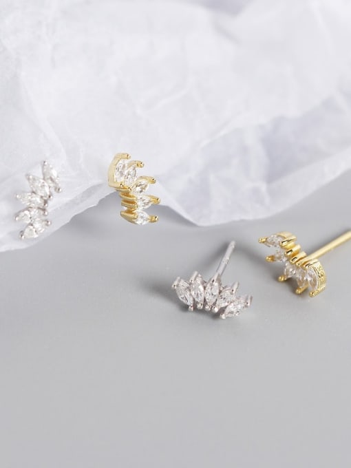ACE 925 Sterling Silver Cubic Zirconia Leaf Artisan Stud Earring 1