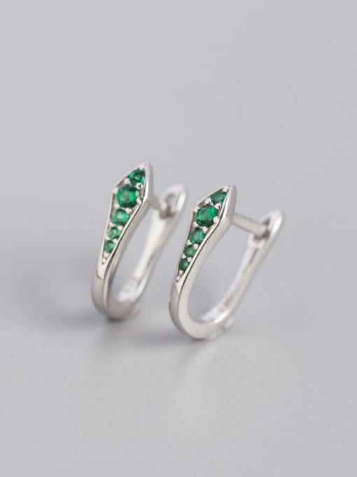 Platinum chlorite 925 Sterling Silver Cubic Zirconia Geometric Artisan Huggie Earring