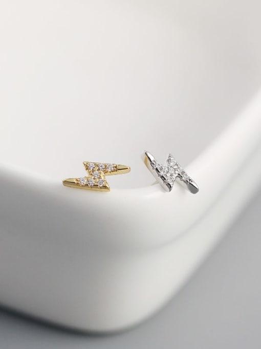 ACE 925 Sterling Silver Cubic Zirconia Irregular Minimalist Stud Earring 2