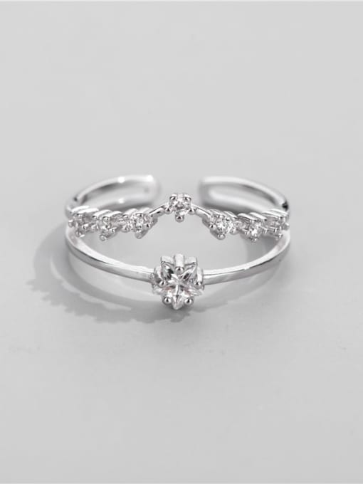ARTTI 925 Sterling Silver Cubic Zirconia Irregular Minimalist Stackable Ring