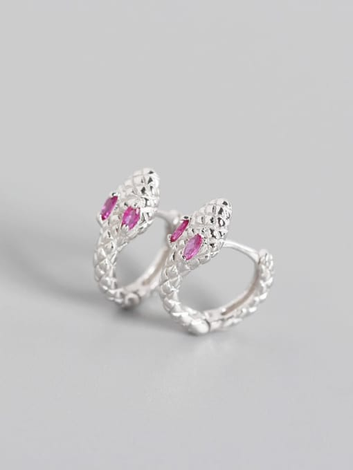 White gold rose  Stone 925 Sterling Silver Cubic Zirconia Snake Vintage Huggie Earring