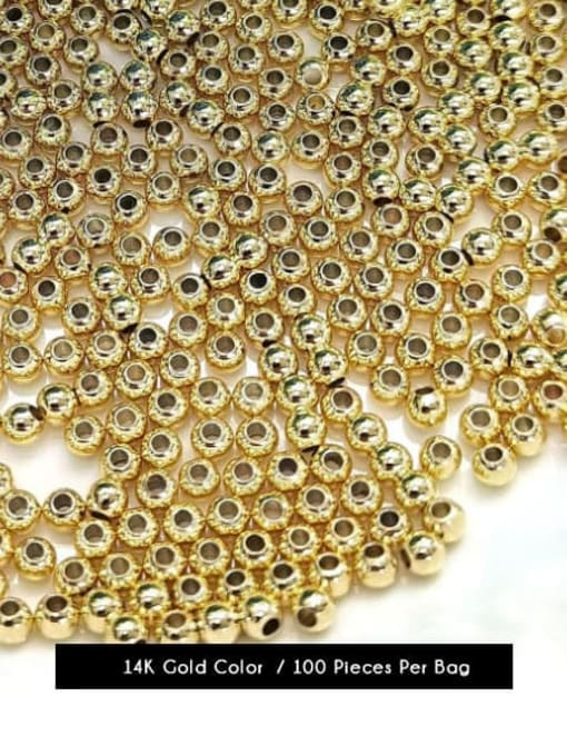 14k Gold Color Brass Round Gold Beads ,from 2mm to 8mm