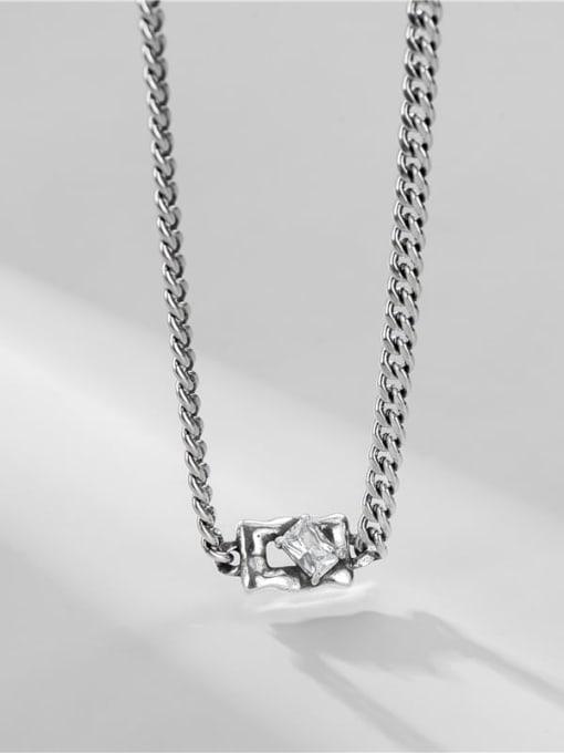 Zircon Necklace 925 Sterling Silver Cubic Zirconia Geometric Vintage Necklace
