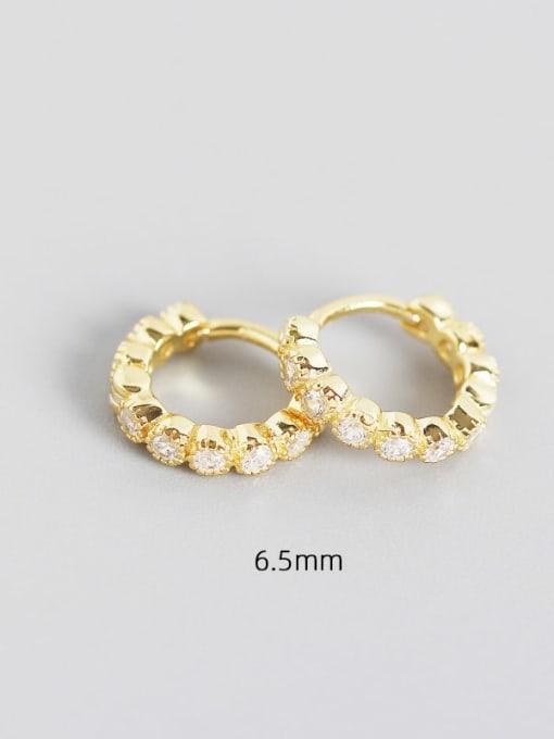 6.5mm white gold 925 Sterling Silver Cubic Zirconia Geometric Minimalist Huggie Earring