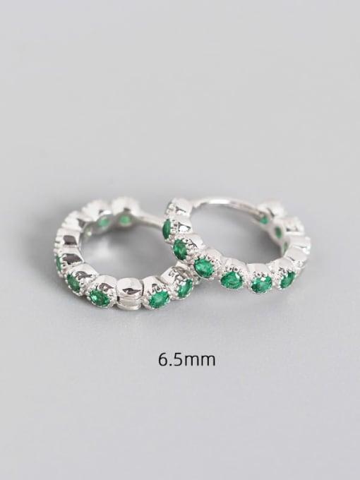 6.5mm platinum chlorite 925 Sterling Silver Cubic Zirconia Geometric Minimalist Huggie Earring